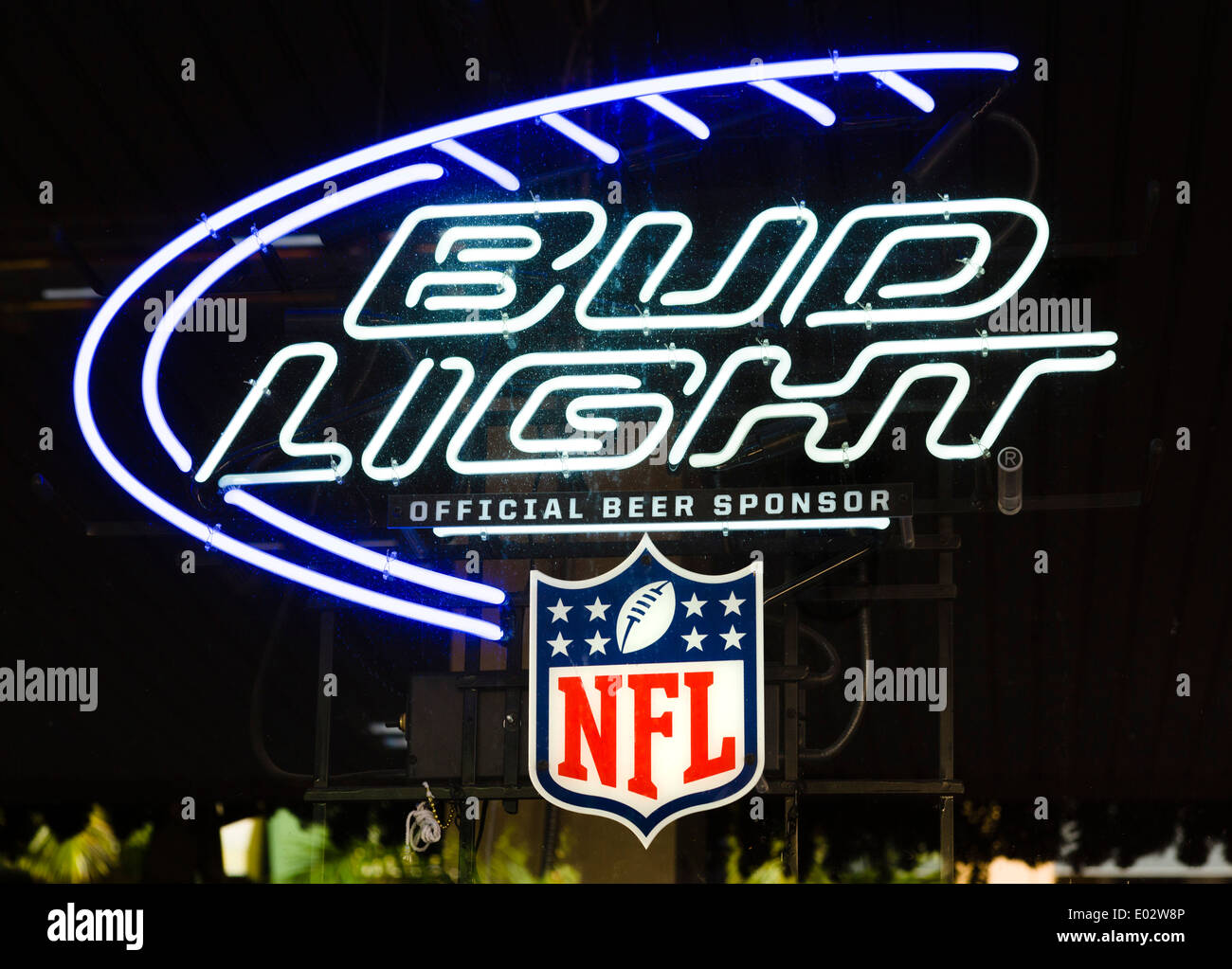 Neon sign for Bud Light beer, Fort Myers, Florida, USA - Stock Image