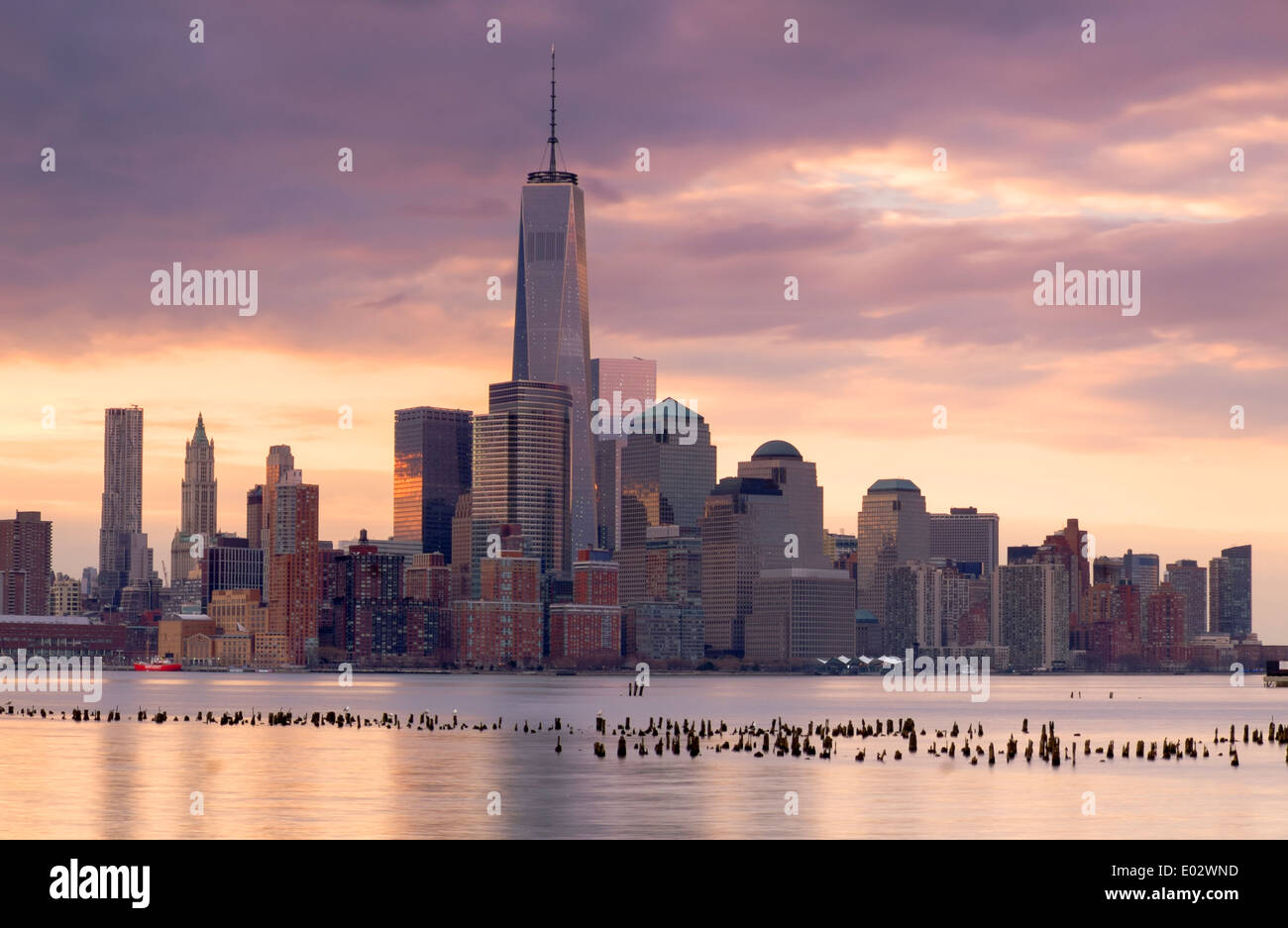 New York Skyline Viewed over the Hudson River, New York, USA - Stock Image