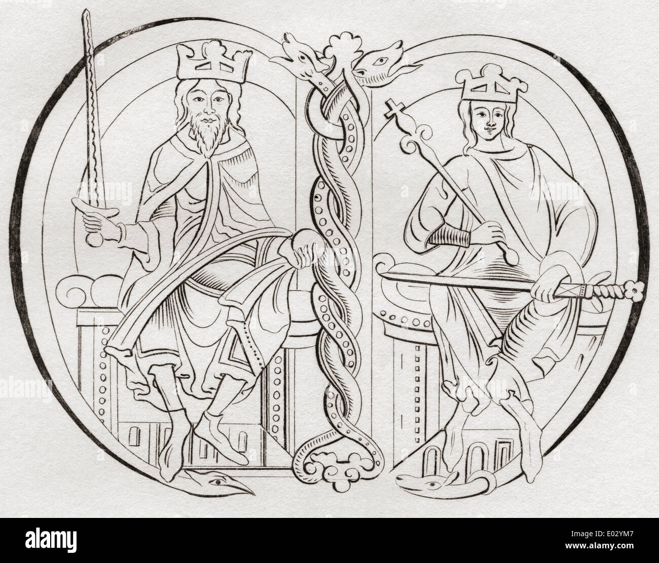 David I, left, 1084 –1153. Prince of the Cumbrians.  Malcolm IV, right. Both Kings of the Scots. - Stock Image
