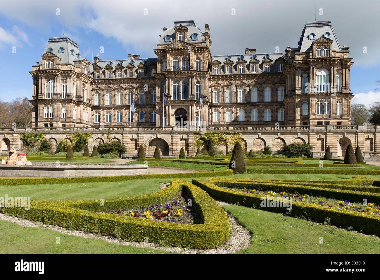 The Bowes Museum in the Spring Barnard Castle Teesdale County Durham UK - Stock Image