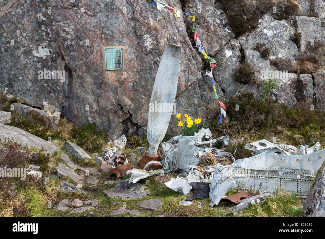 Memorial to the Crew of a B-24H Liberator Bomber which crashed on 13th June 1945 Fairy Lochs, Sheildaig, Scotland - Stock Image