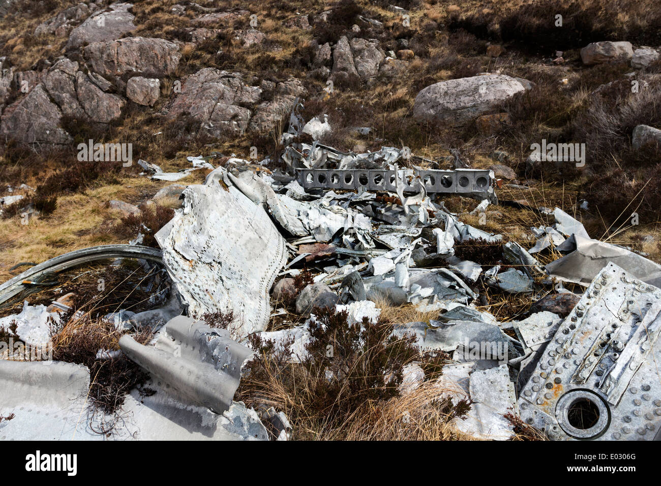 Wreckage from a B-24H Liberator Bomber serial no 42-95095  which crashed on 13th June 1945 Fairy Lochs Gairloch Scotland - Stock Image