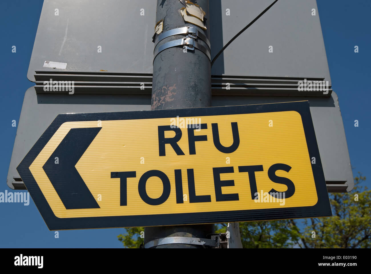 sign for rfu toilets, or rugby football union toilets, in twickenham, middlesex, england - Stock Image