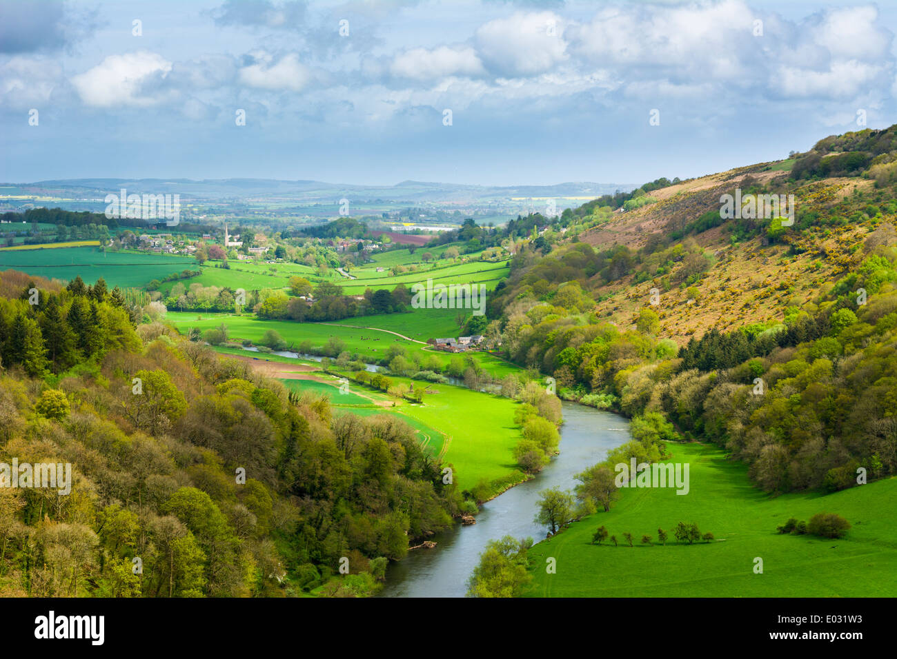 View over the Wye Valley in spring time from Yat Rock, Symonds Yat, Herefordshire, England - Stock Image