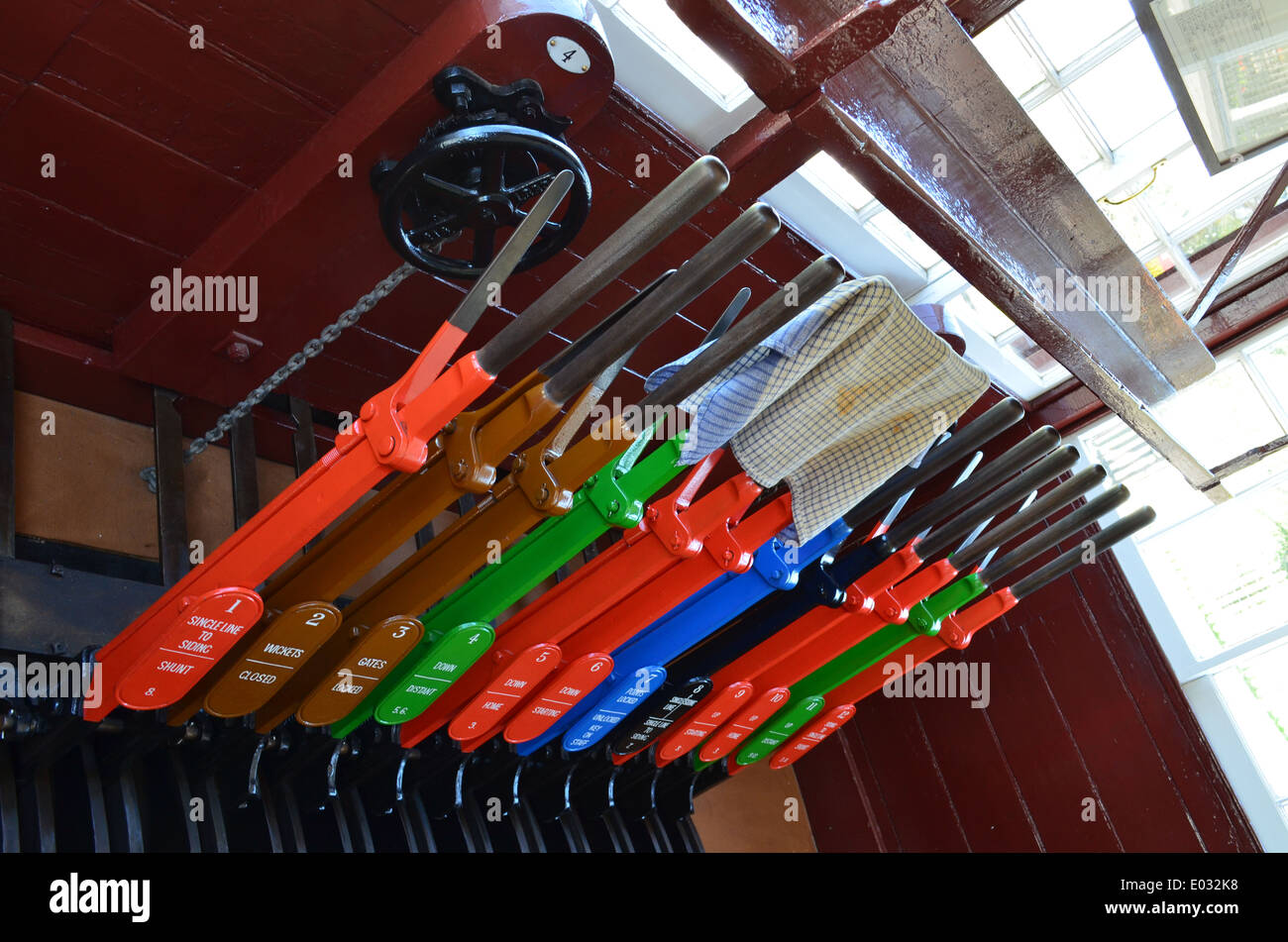 Lever Train Track : Train signal box point lever handles stock photo