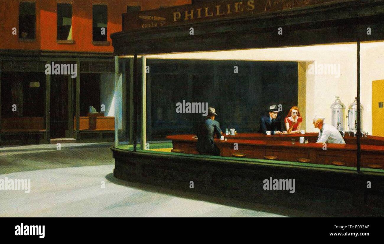 Edward Hopper Nighthawks - Stock Image