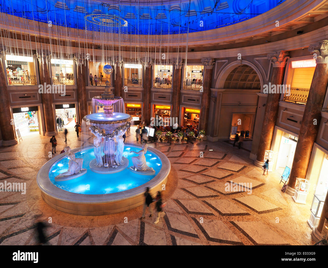 Beautiful Fountain At Venus Fort Venice Themed Shopping Mall In Odaiba,  Tokyo, Japan