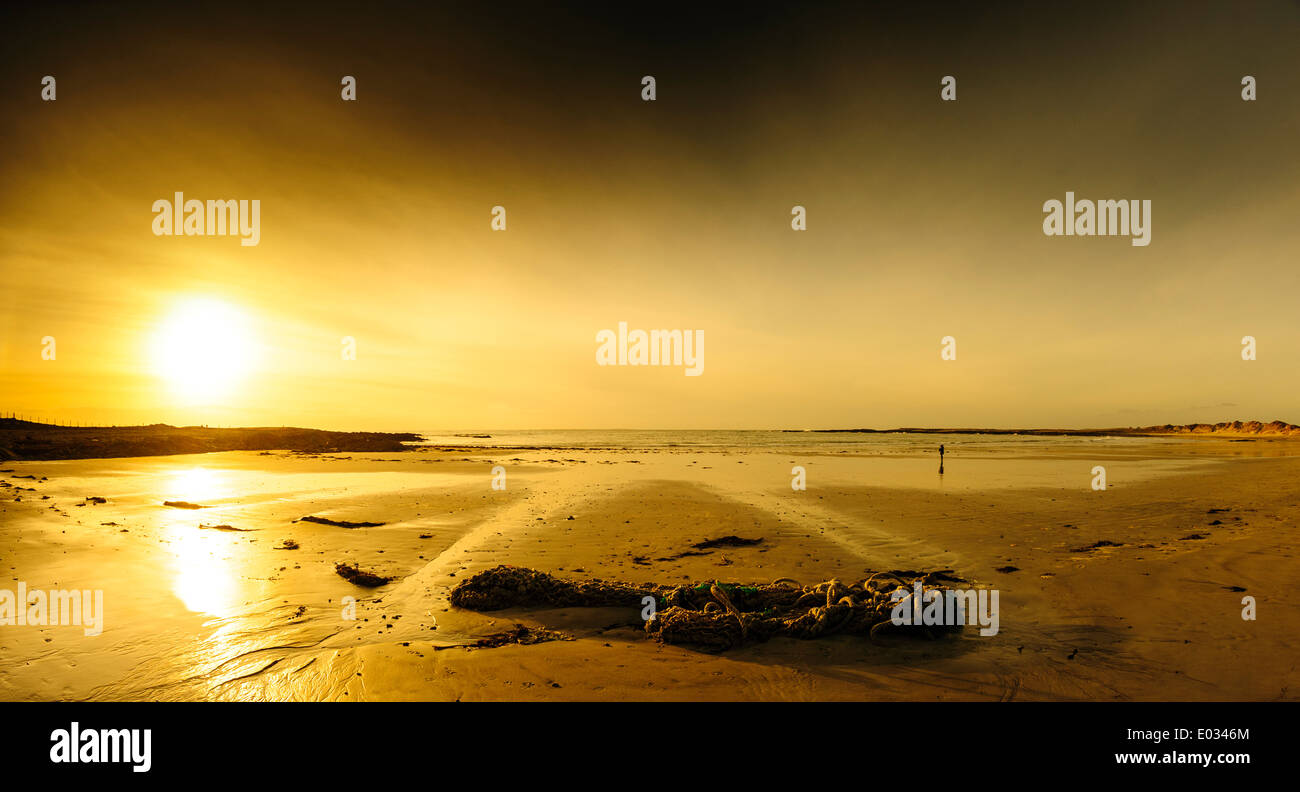 Sunset on the beach at Balivanich, Benbecula, Outer Hebrides, Scotland - Stock Image