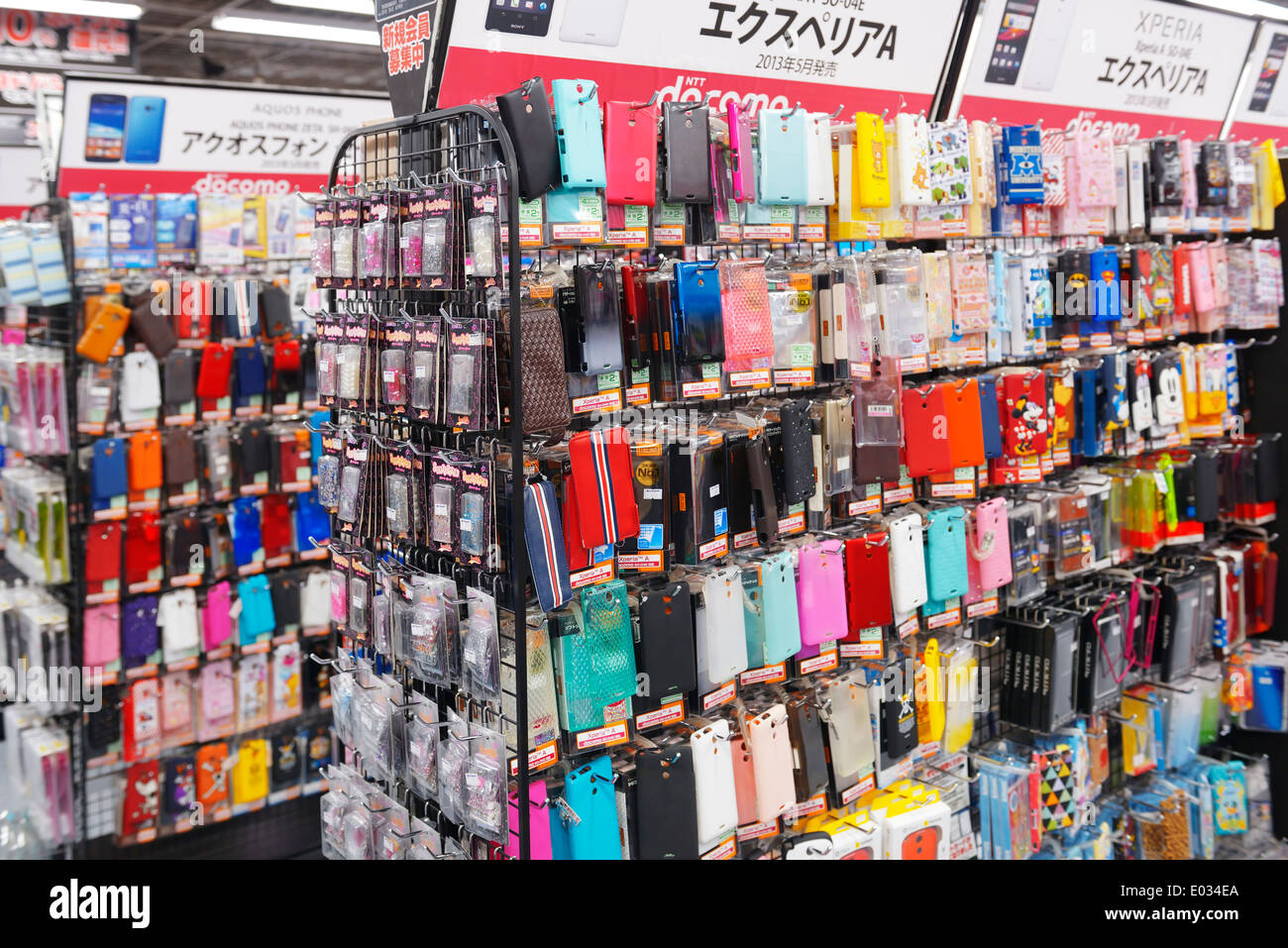 Cellphone cases and accessories at electronics store Yodobashi Camera, Tokyo, Japan. - Stock Image