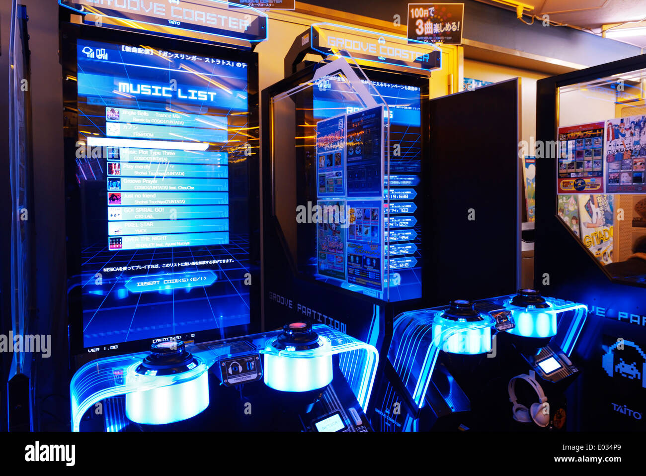 Groove Coaster music arcade slot machines in Tokyo, Japan - Stock Image