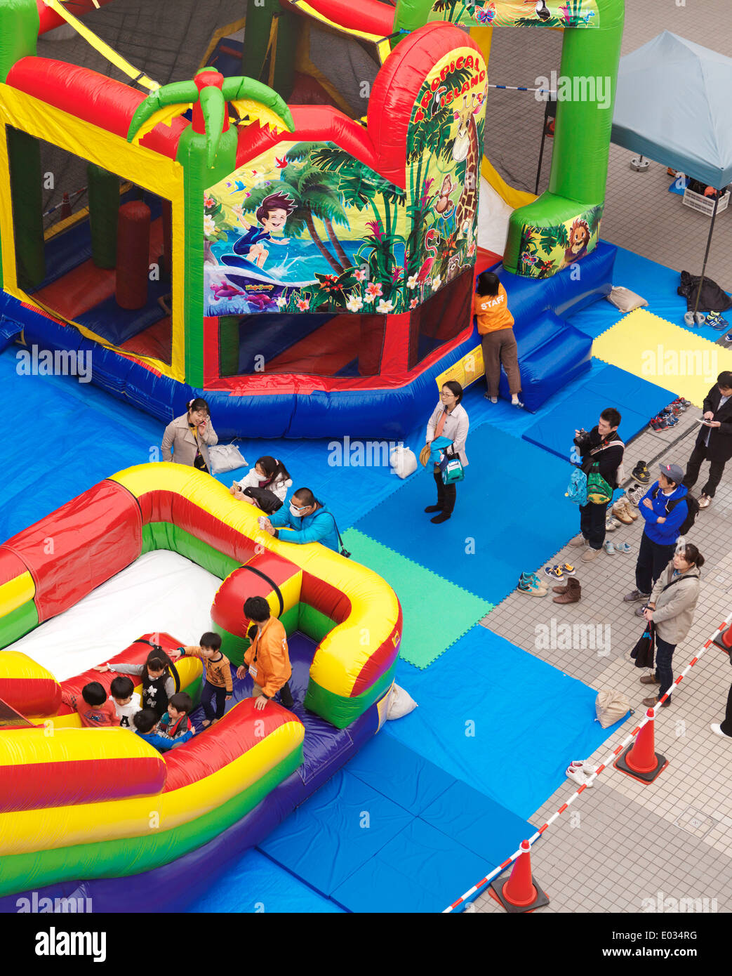 Children playground with inflatable rides at Venus Fort, Odaiba, Tokyo, Japan - Stock Image