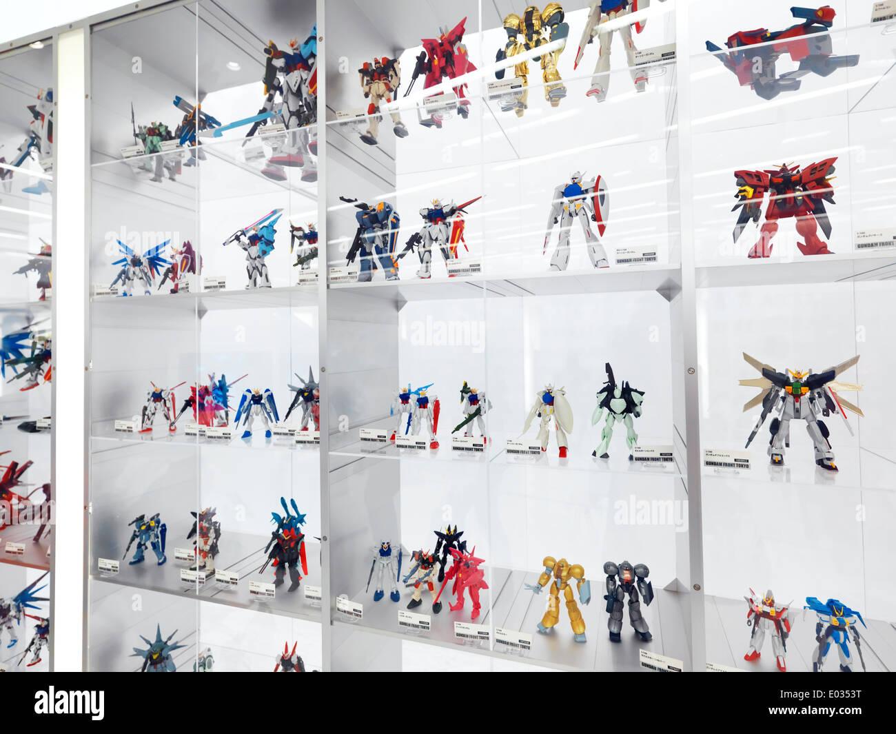 Gunpla action figures toy models at Gundam Front Tokyo, Diver City, Odaiba, Tokyo, Japan Stock Photo