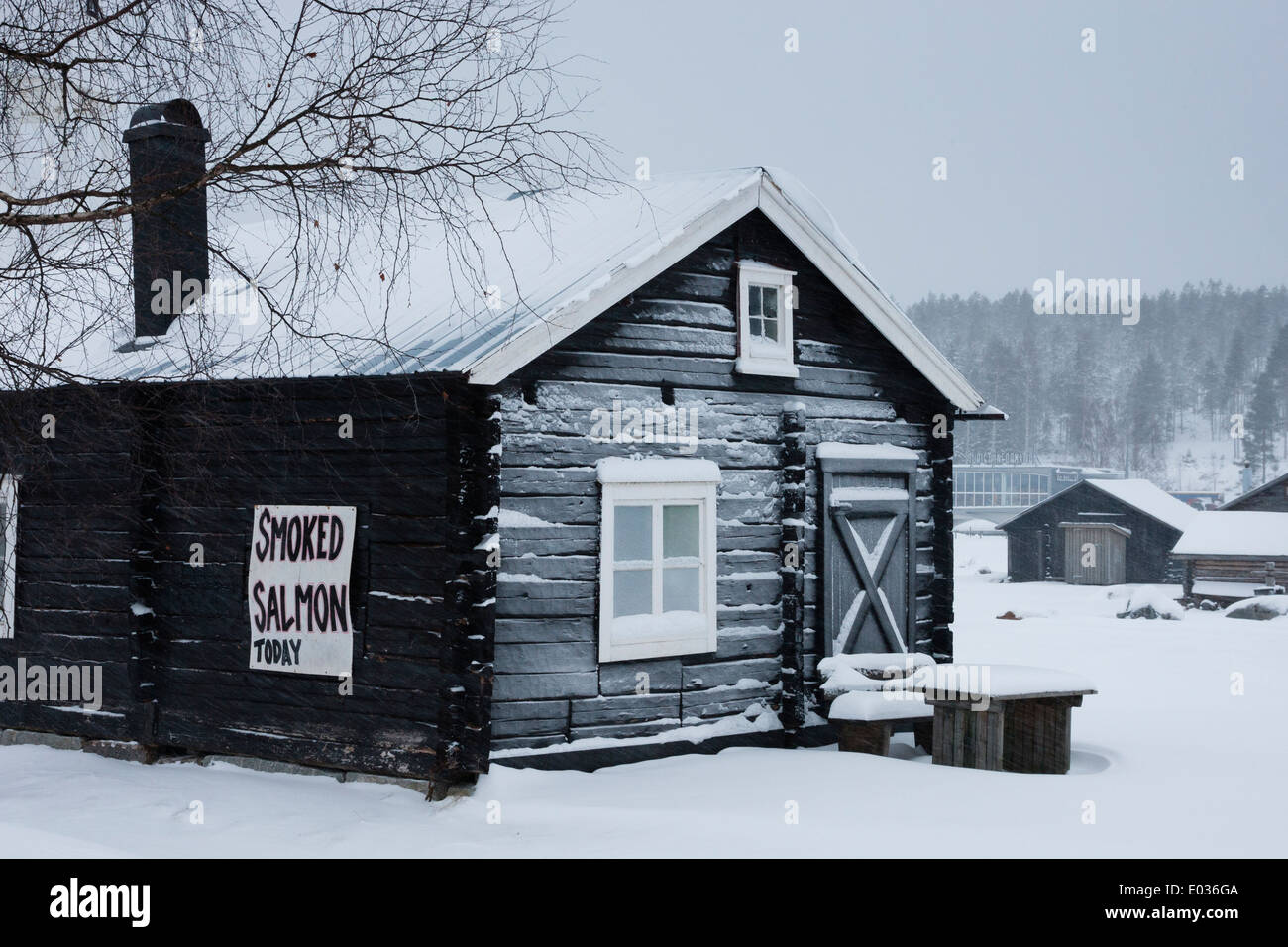 """JAVRE, SWEDEN Cabin with """"smoked salmon"""" sign. Stock Photo"""