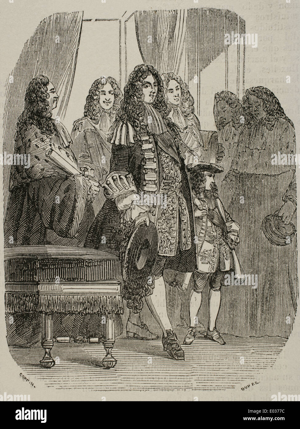 The Regent Philippe of Orleans (1674-1723) with Louis XV (1710-1774) as a child in the Parliament. Engraving. - Stock Image