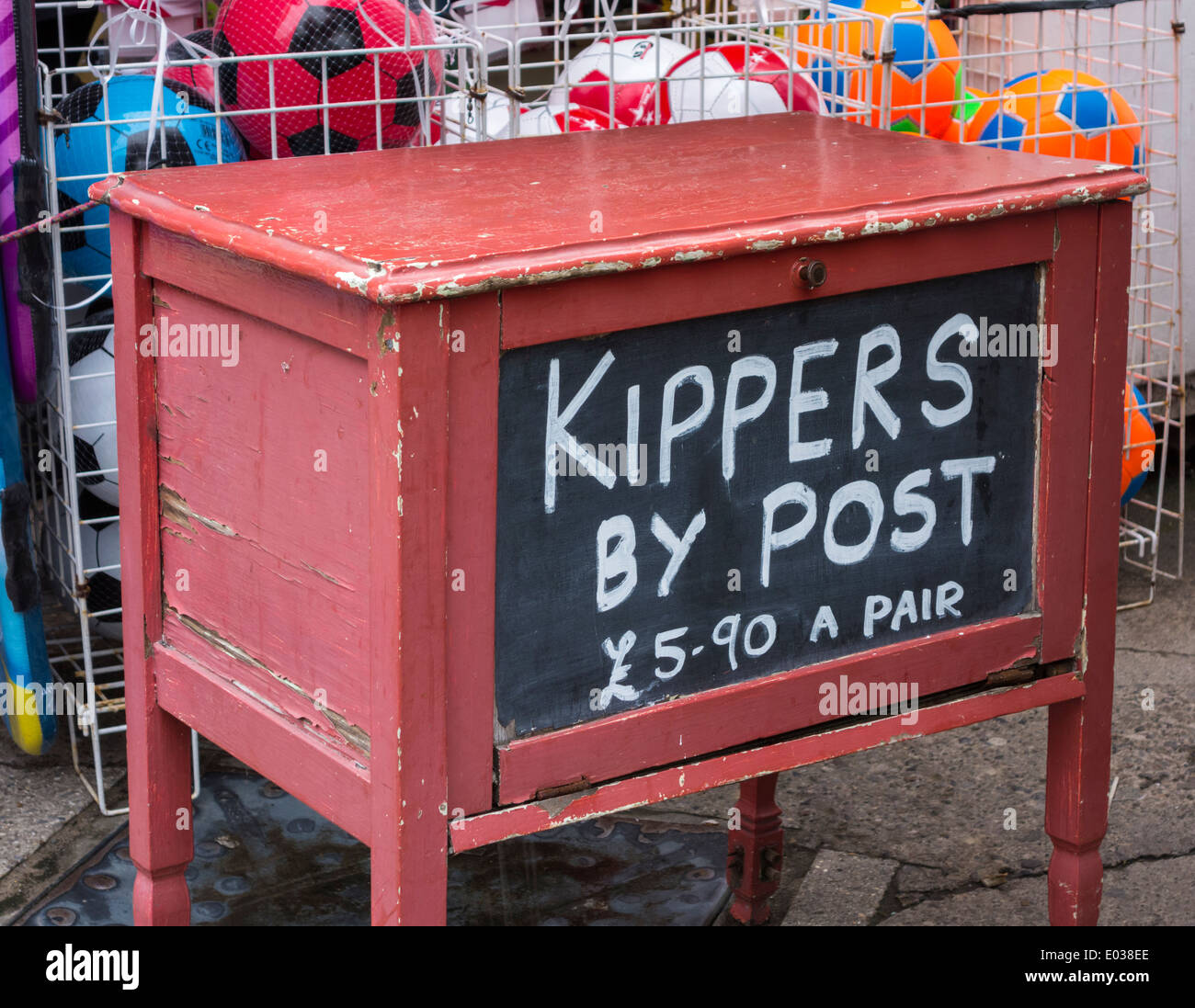 Kippers by post sign in Whitby, North Yorkshire, England.UK - Stock Image