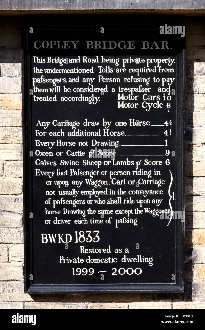 Toll notice at the former Copley Bridge Bar, West Yorkshire - Stock Image