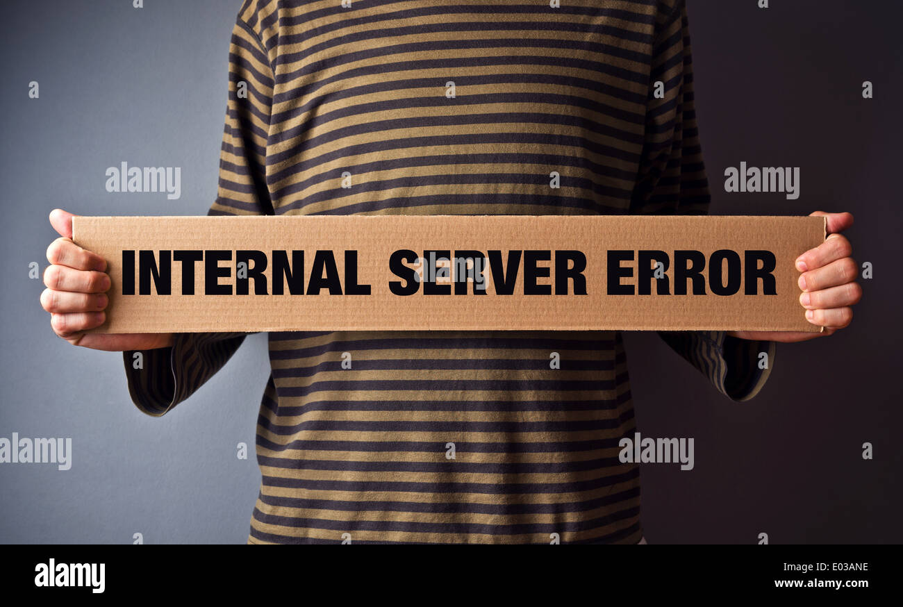 Http Error 500, Server error page concept. Man holding banner with error message. Web technolgy series. - Stock Image