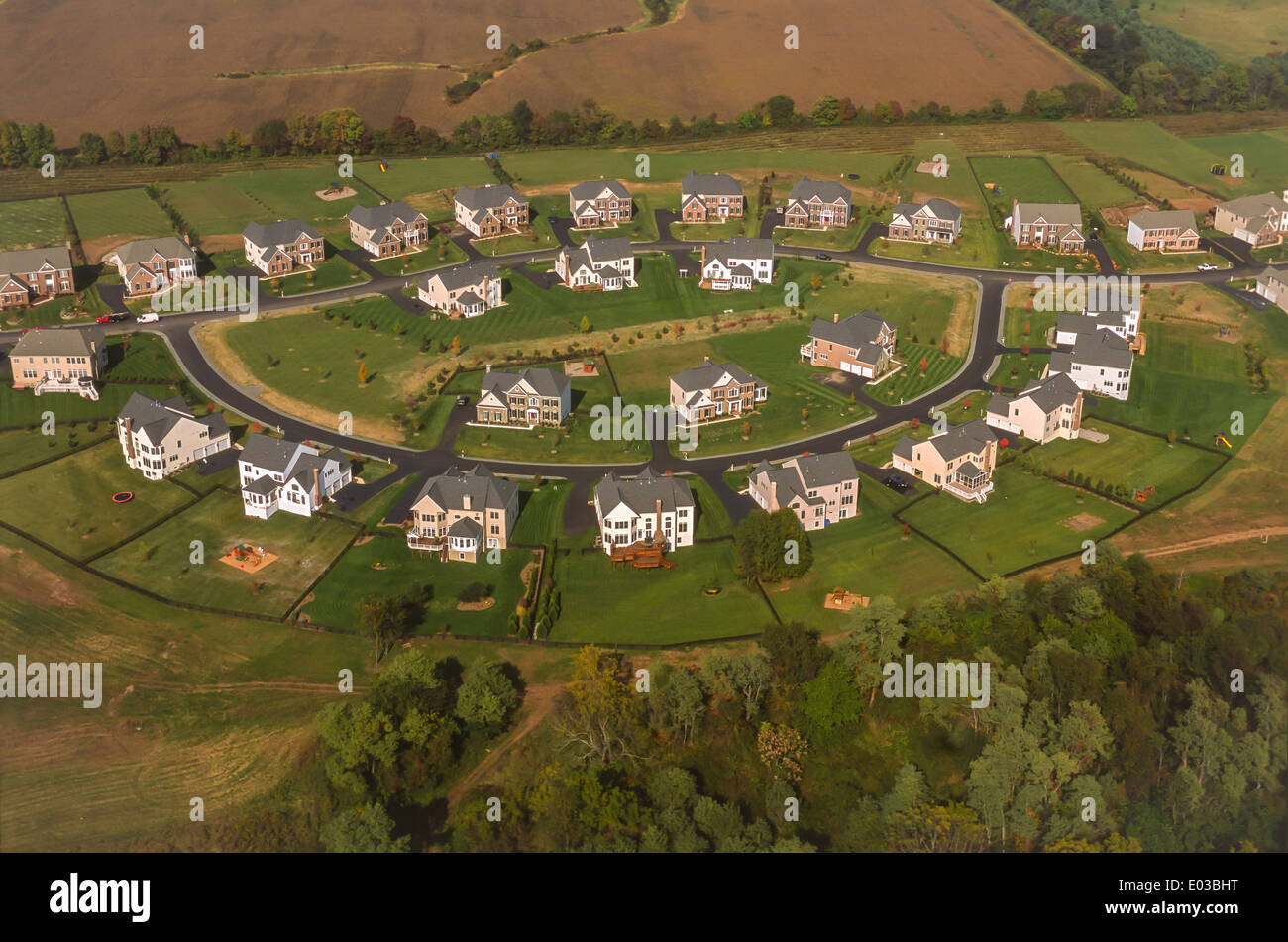 LOUDOUN COUNTY, VIRGINIA, USA - Aerial view of new housing development, Lenah Farms, on Route 50, on farm land, east of Aldie.