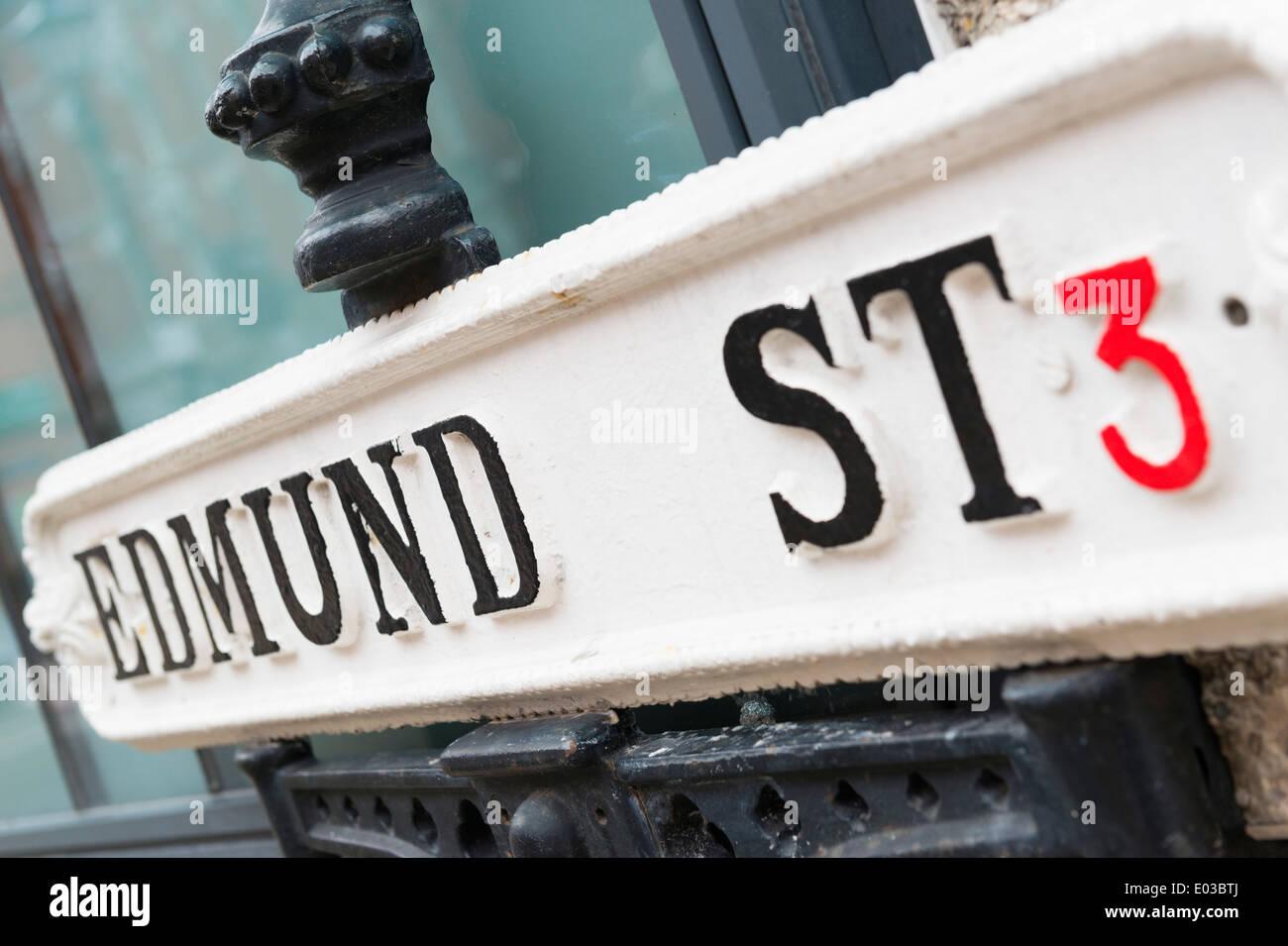 Edmund Street sign, Birmingham - Stock Image