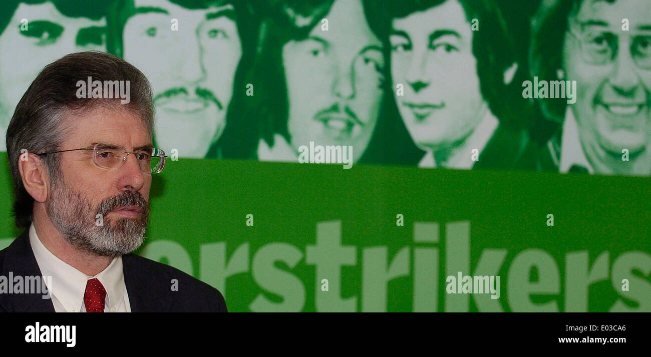 Sinn Fein president Gerry Adams pictured at the launch of the 25th anniversary of the Hunger Strikes in the Europa Hotel - Stock Image