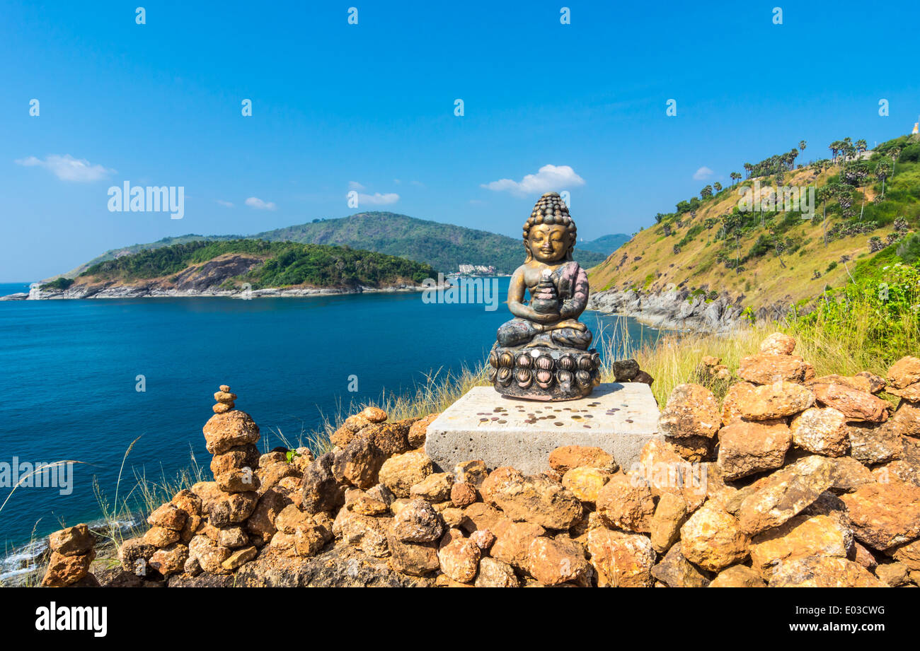 Phromthep cape viewpoint with a budha statue over the blue sky Phuket,Thailand - Stock Image