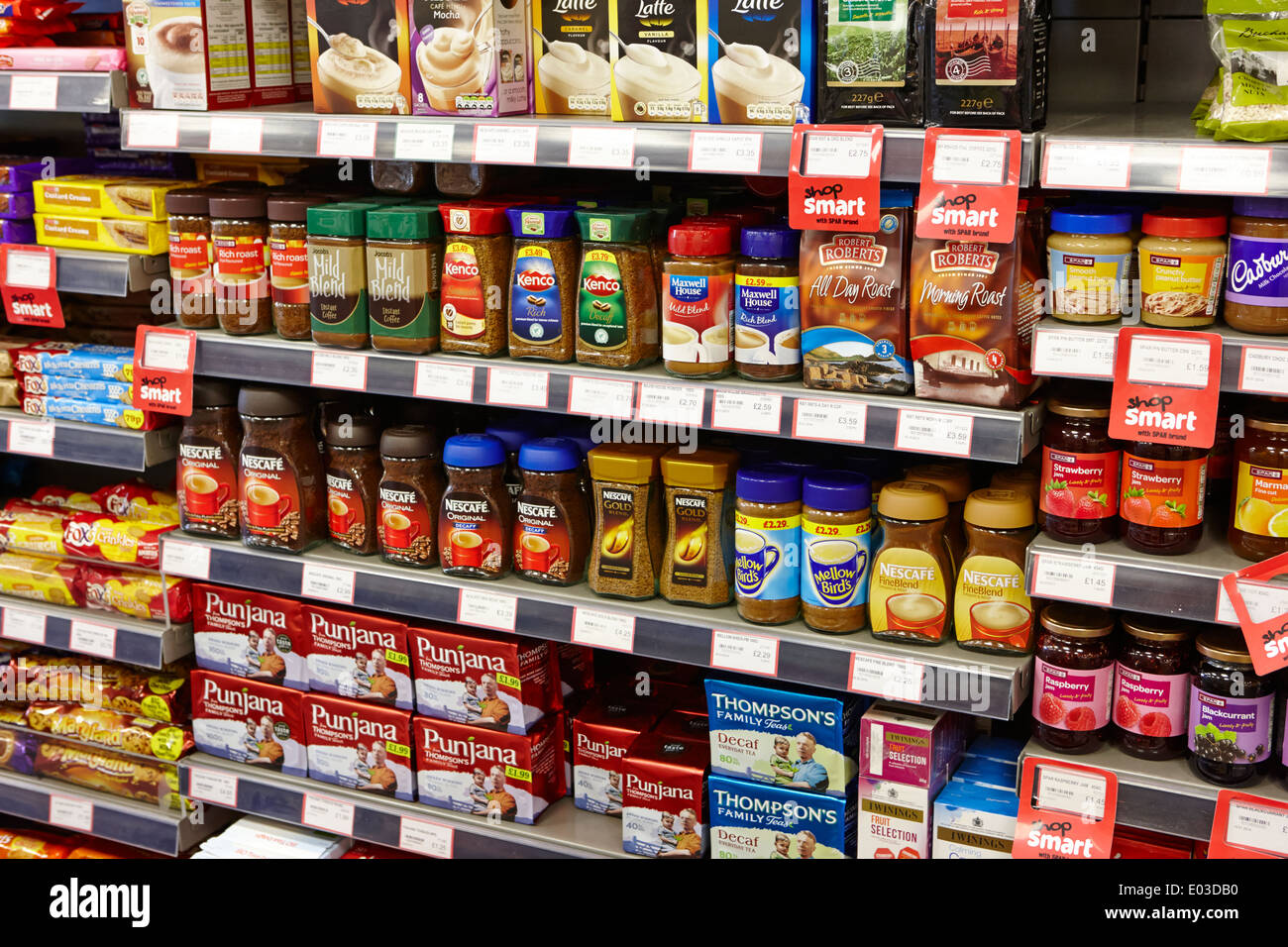 tea and coffee shelf display in a filling station convenience store in northern ireland - Stock Image