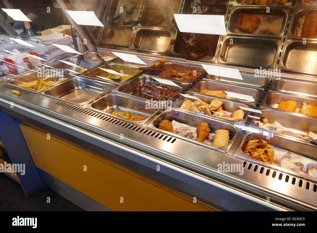 hot food deli counter in a filling station convenience store in northern ireland - Stock Image