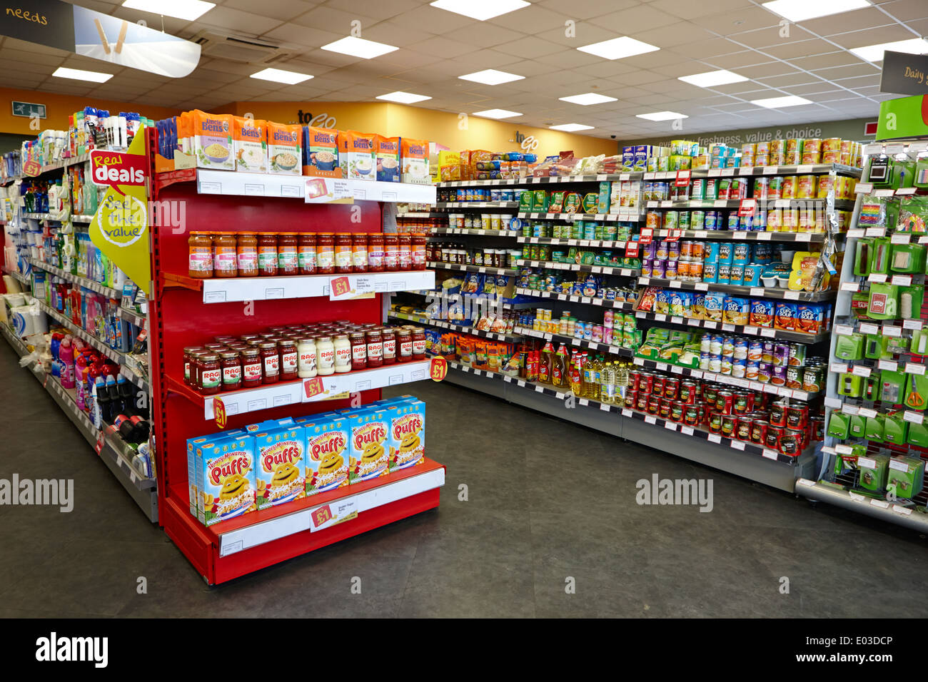 Food And Grocery Aisles In A Filling Station Convenience Store In Stock Photo Alamy