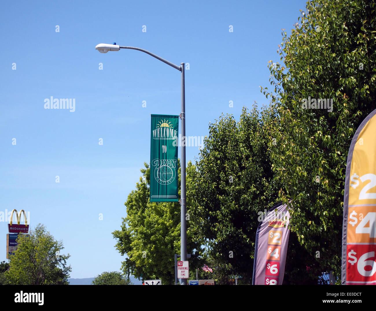 Dixon California banner hangs from street light - Stock Image