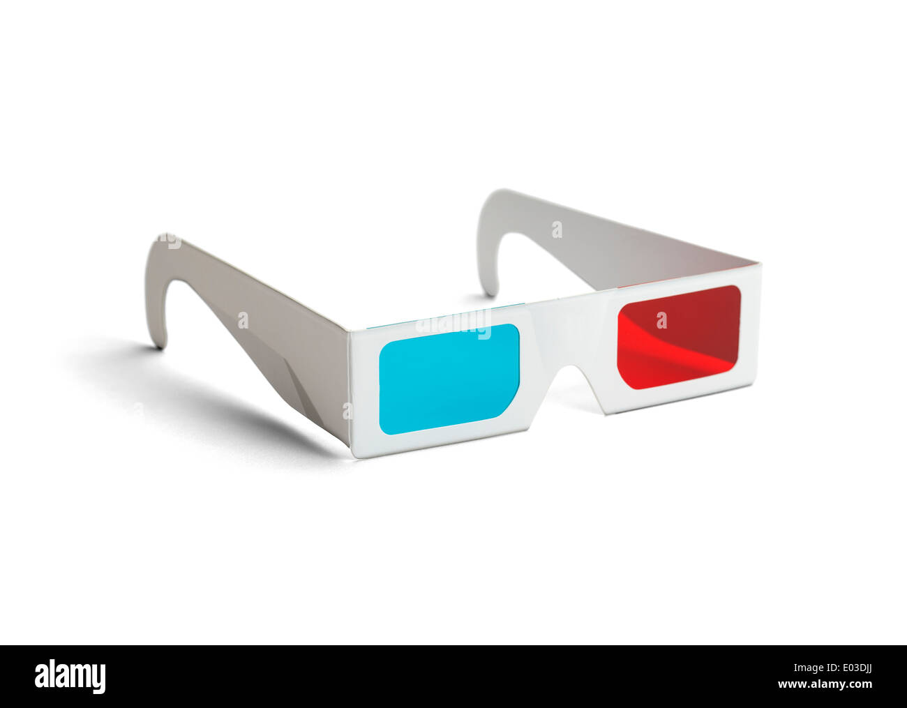 Side view of a pair of 3D glasses Isolated on white background. - Stock Image