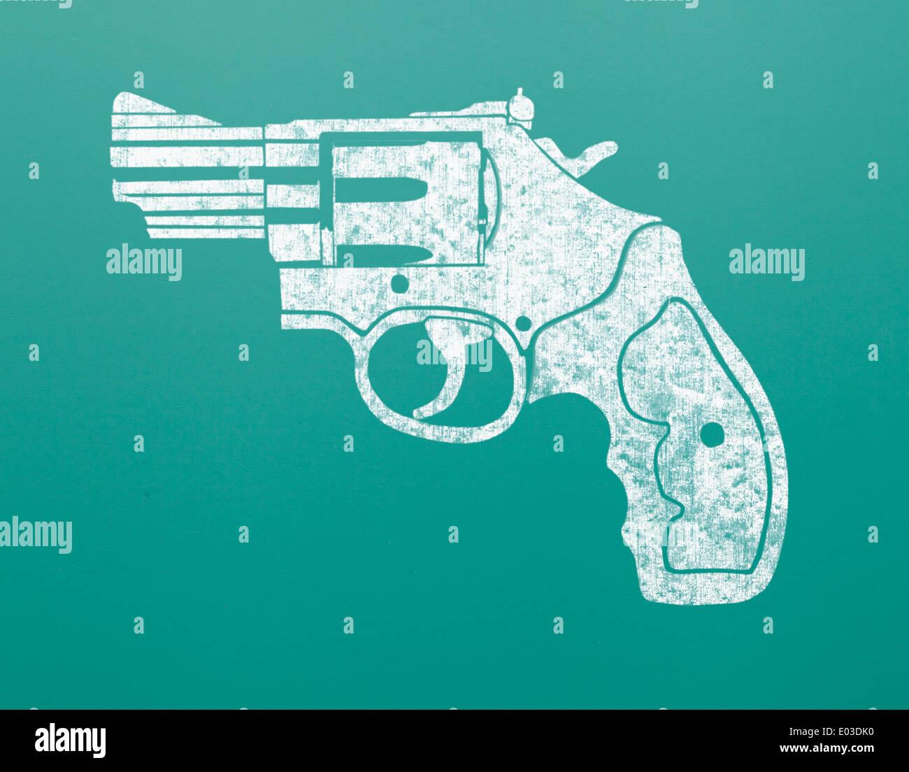 Drawing of Hand Gun on Green Chalk Board. - Stock Image