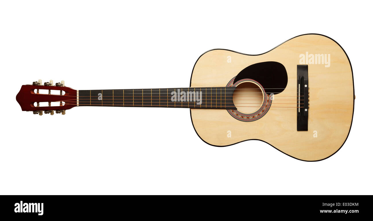 Wood Guitar Isolated on White Background. - Stock Image