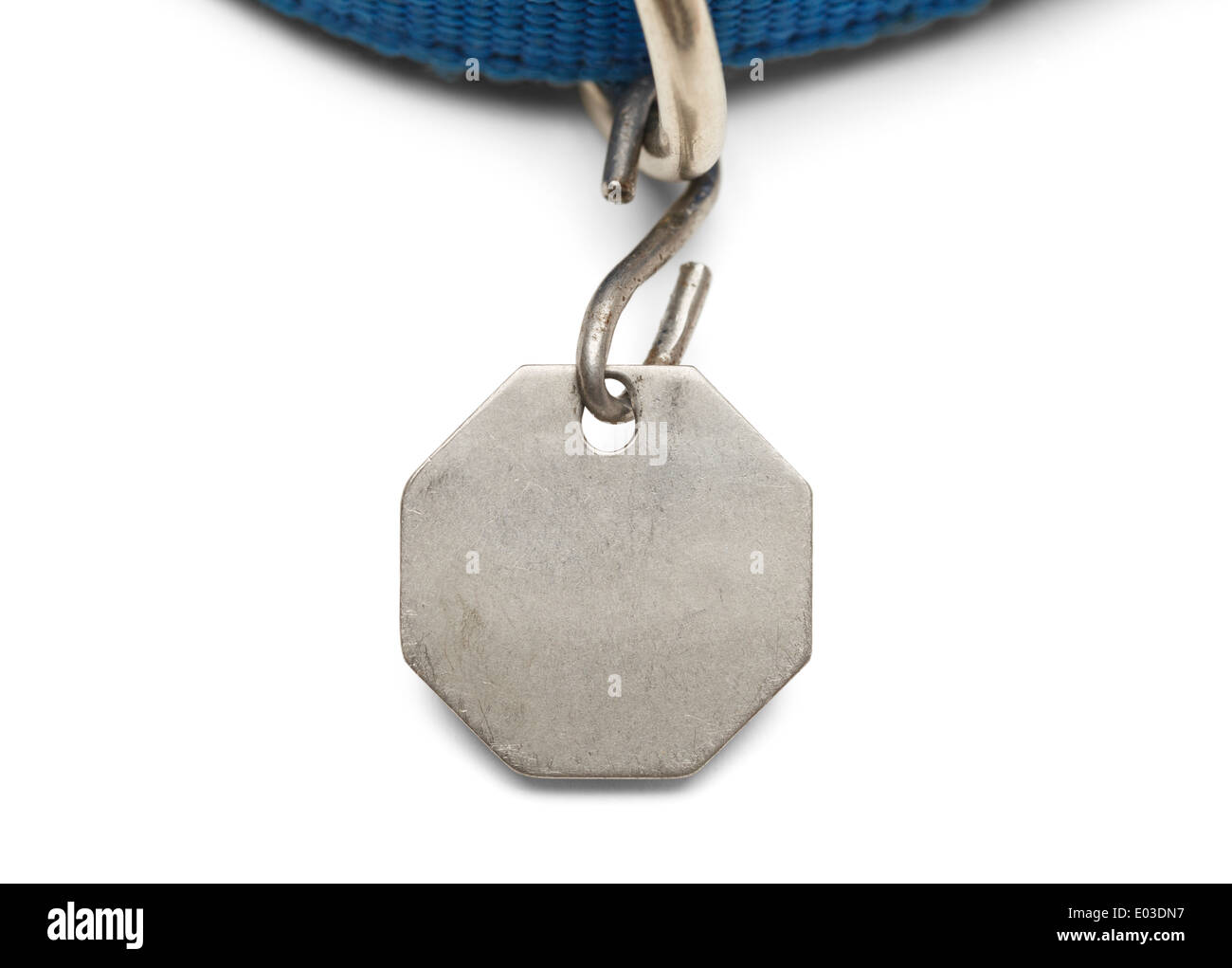 Blank Pet Dog Tag and Collar Isolated on White Background. Stock Photo