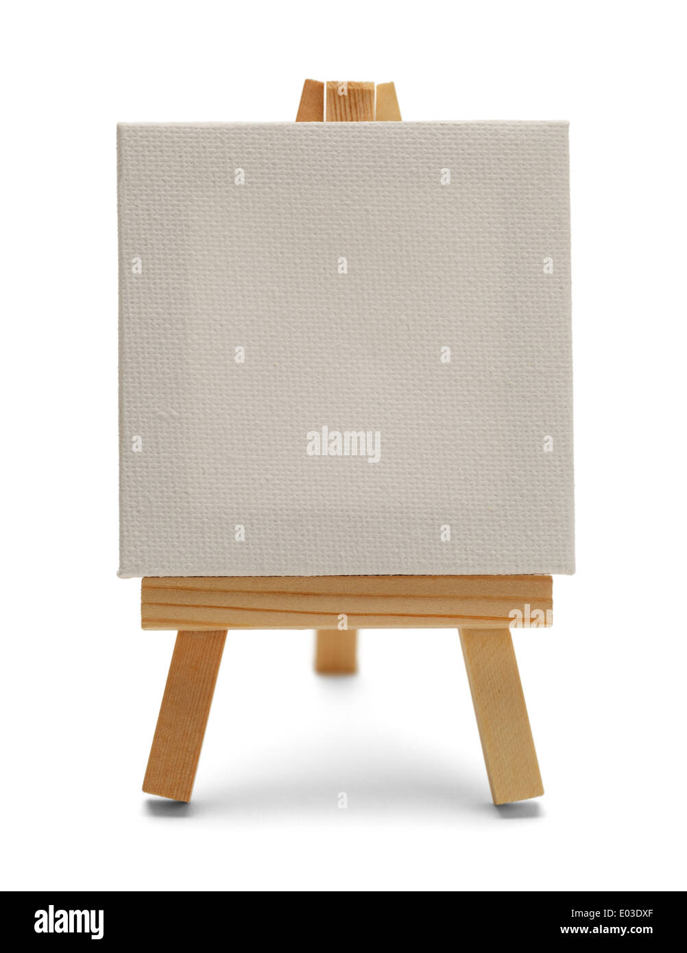 Blank Canvas on Easel Isolated on White Background. - Stock Image