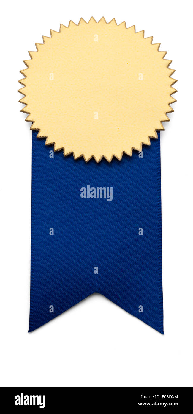 Blue and Gold Award Ribbon on isolated white. - Stock Image