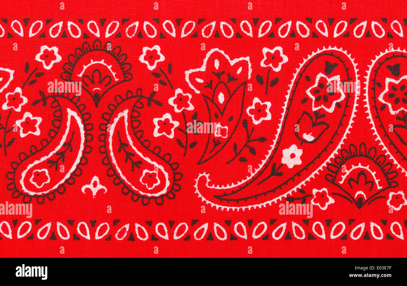 Red Bandana Close Up with Flower Paisley Design. - Stock Image