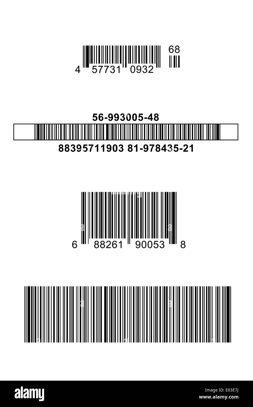 Four Different Bar Codes Isolated on White Background. - Stock Image