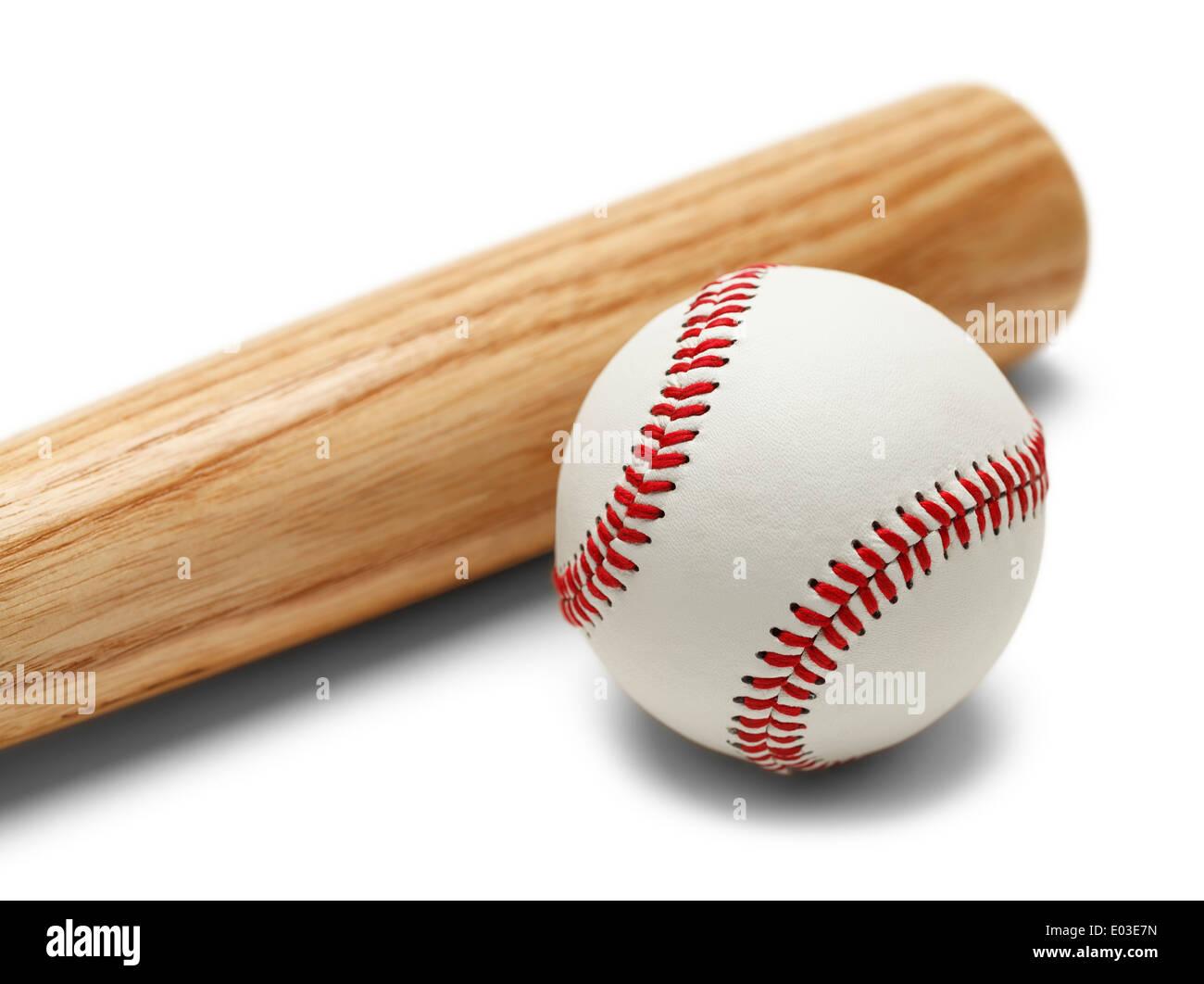 Wood Baseball Bat and Ball Isolated on White Background. - Stock Image