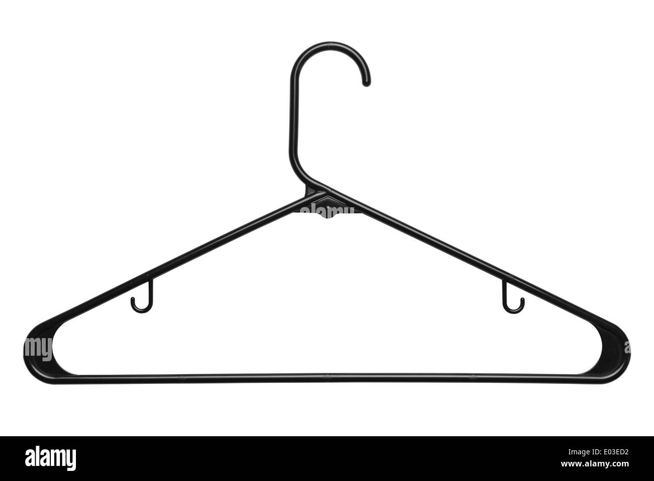 Black Plastic Clothes Hanger Isolated on White Background. - Stock Image