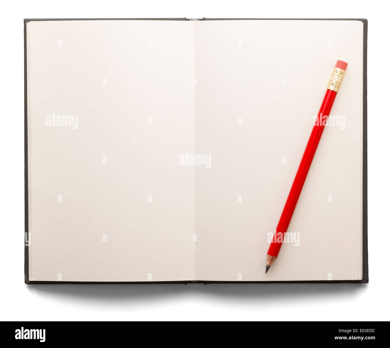 Open book with white pages and a red pencil on a white isolated background. - Stock Image