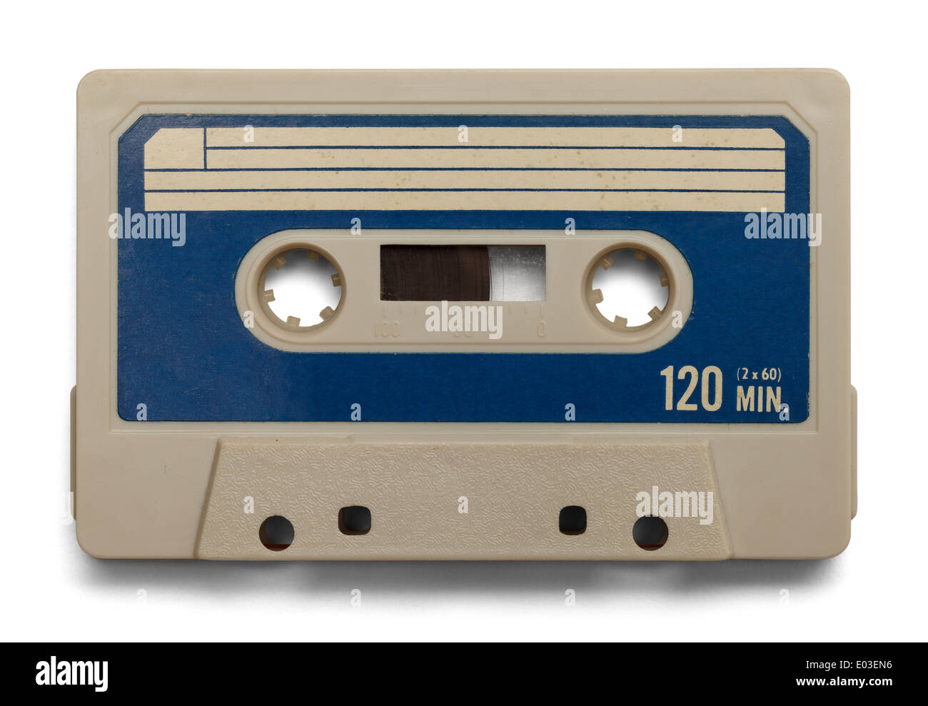 Old Cassette Tape With Copy Space Isolated on White Background. - Stock Image