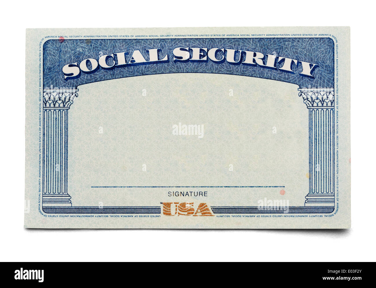 Blank Social Security Card Isolated on a White Background. - Stock Image