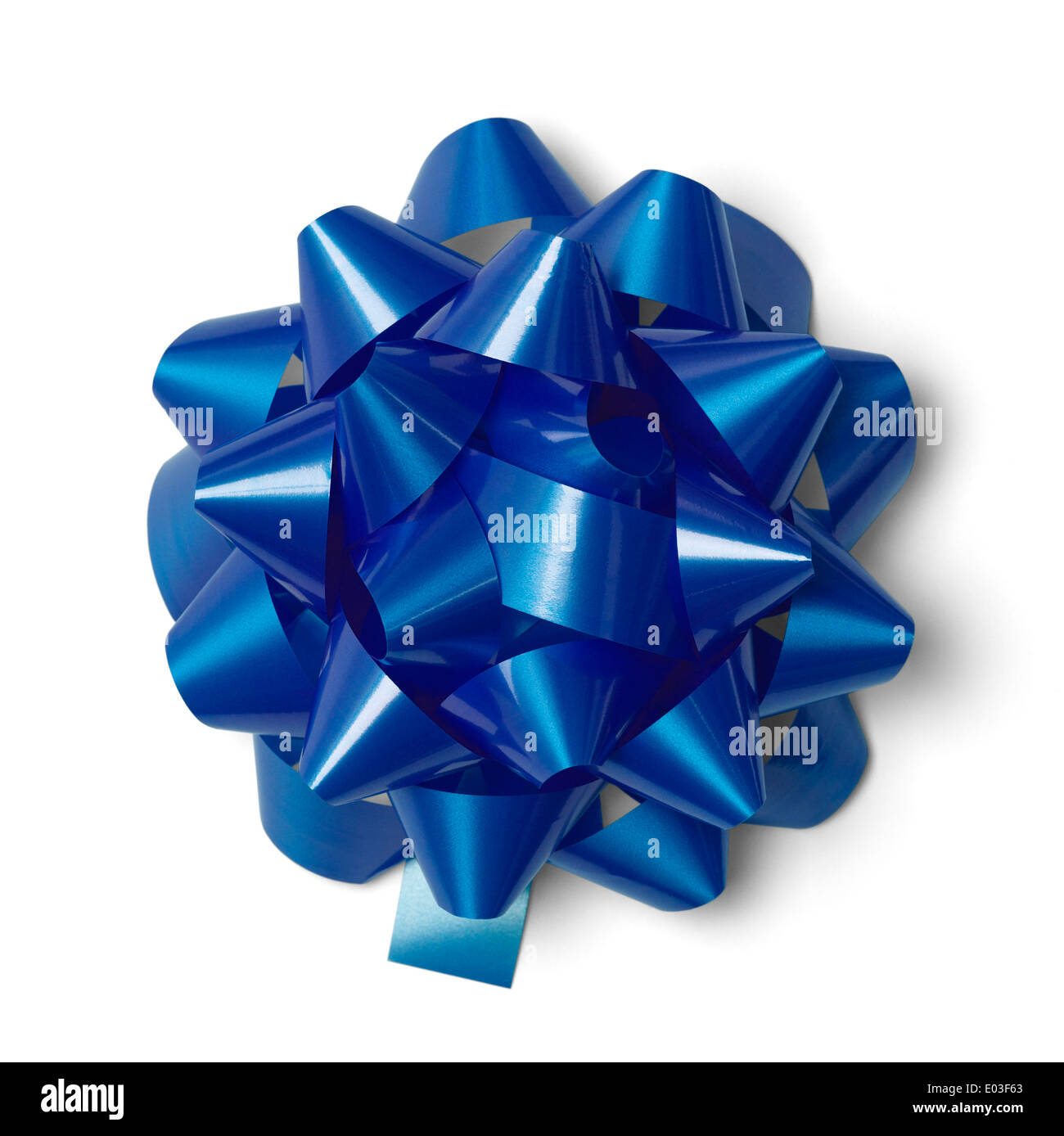 Classic Blue Present Bow Isolated on White Background. - Stock Image