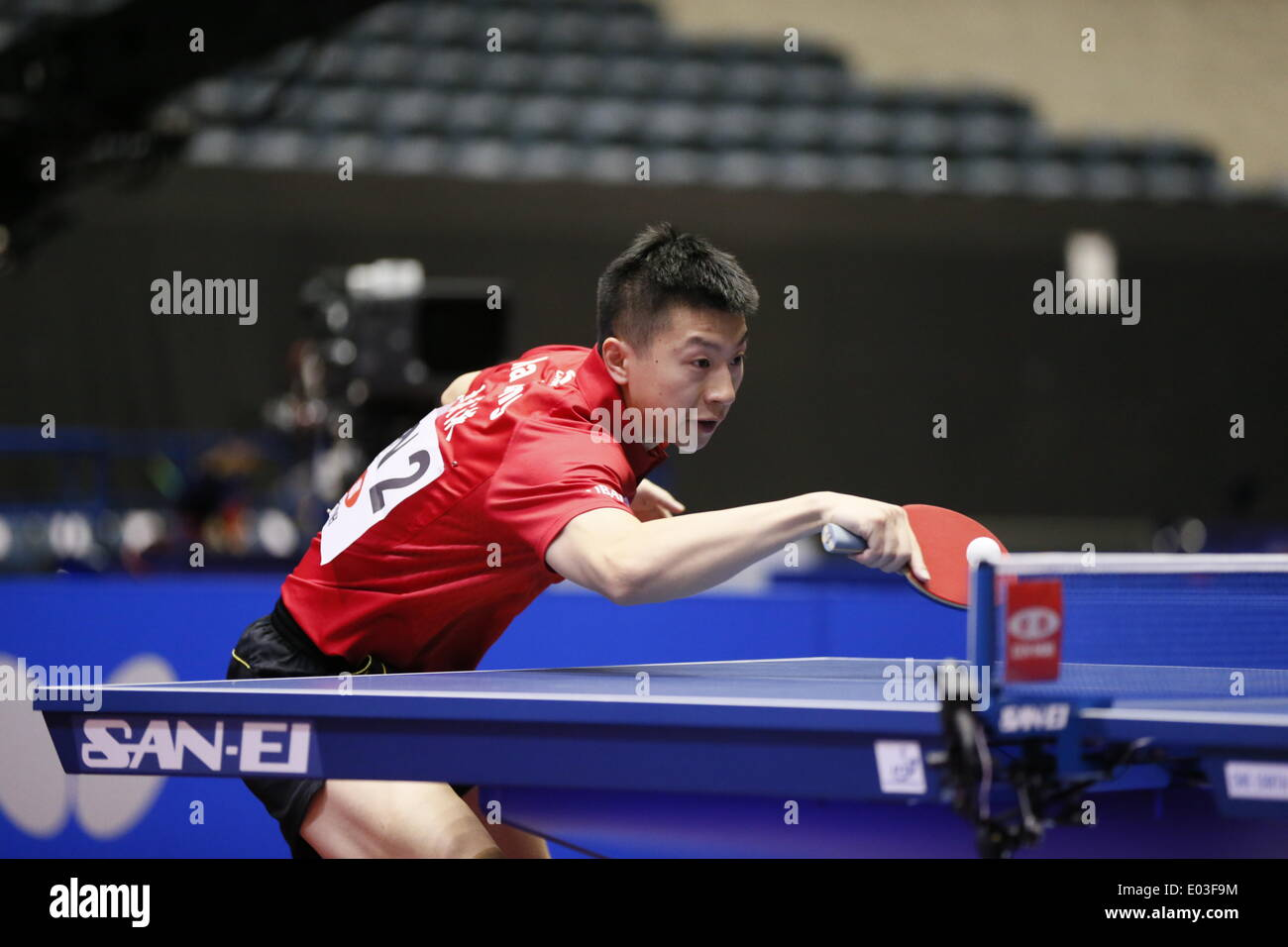 APRIL 28, 2014 -  Table Tennis : 2014 World Team Table Tennis Championships  men's  Group A match between China 3-0 Brazil  at 1st Yoyogi Gymnasium, Tokyo, Japan.   (Photo by AFLO SPORT) - Stock Image