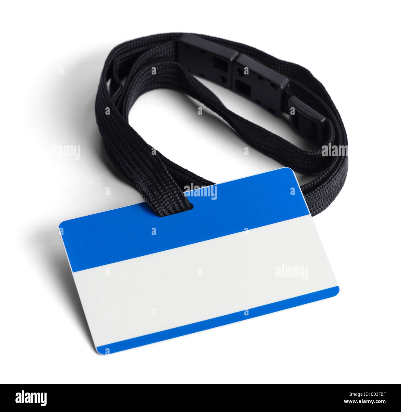 Blue ID Card with Copy Space Isolated on White Background. - Stock Image