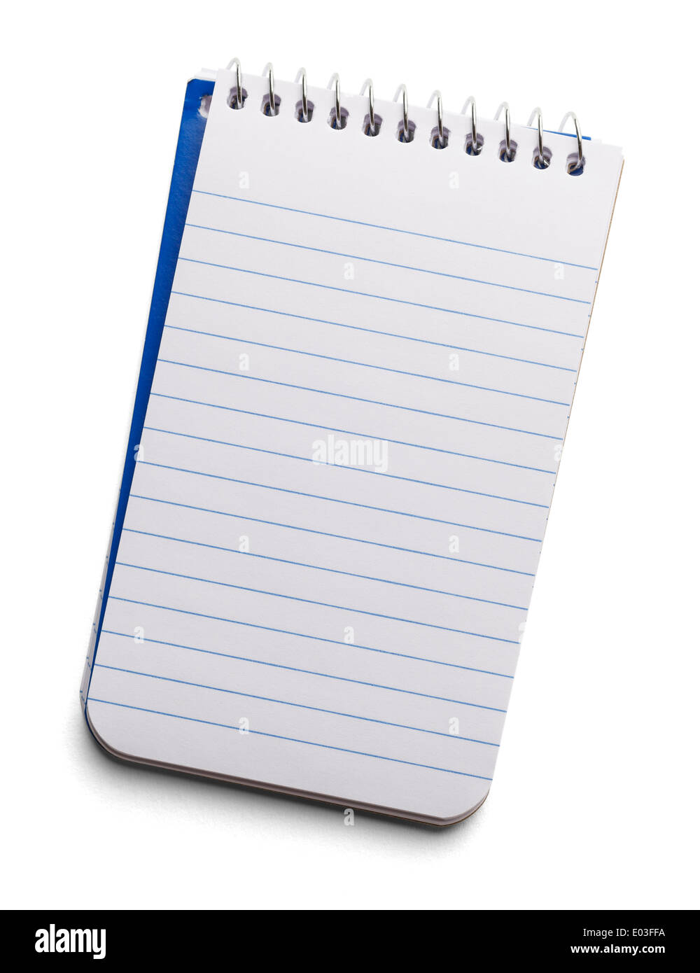 White Lined Spiral Note Pad with Copy Space Isolated on a White Background. - Stock Image