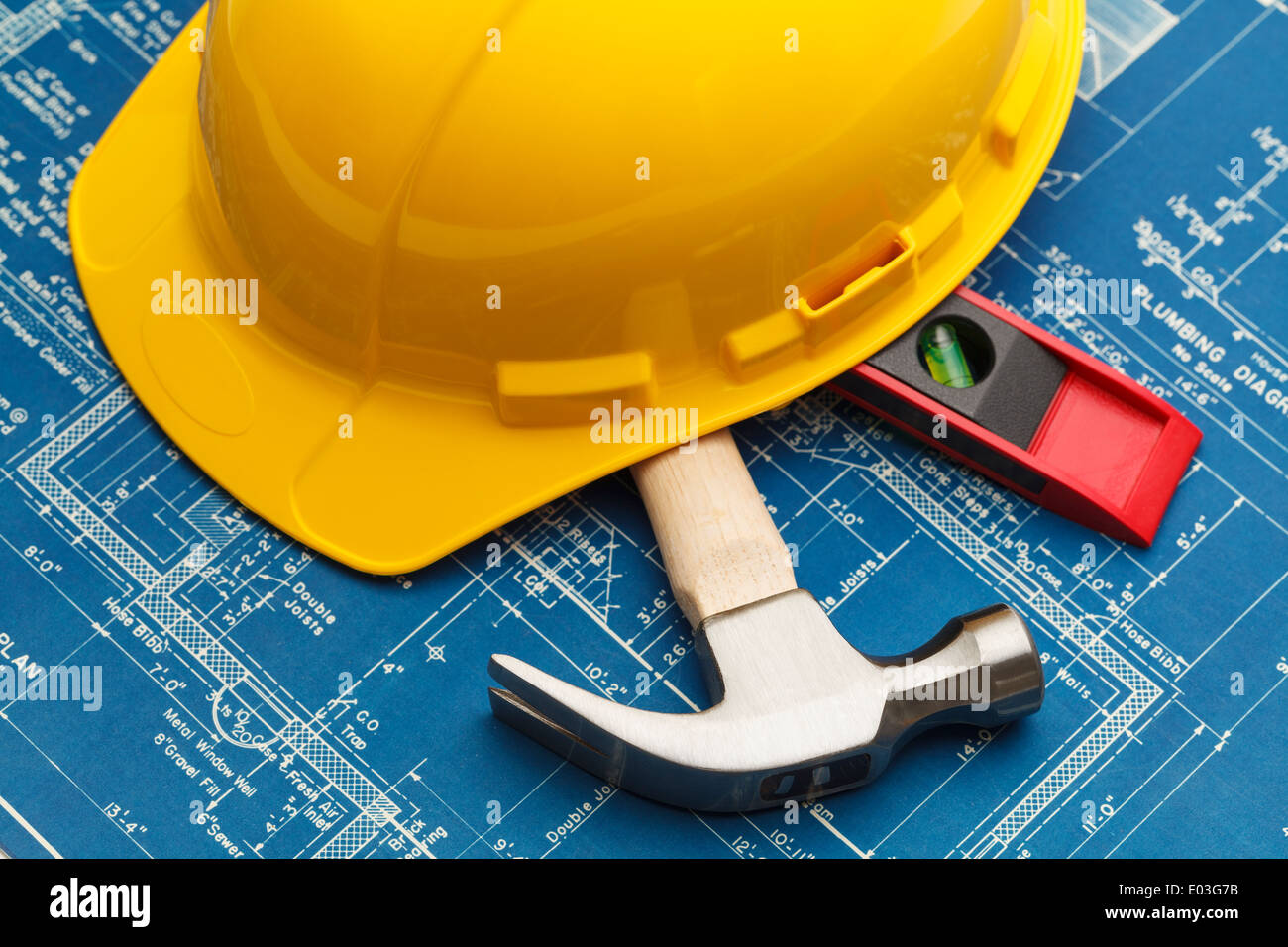 Construction blueprints and tools with hard hat stock photo construction blueprints and tools with hard hat malvernweather Image collections
