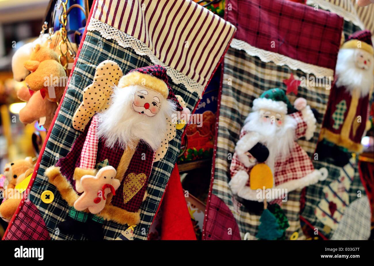 Santa Claus Christmas Stocking - Stock Image