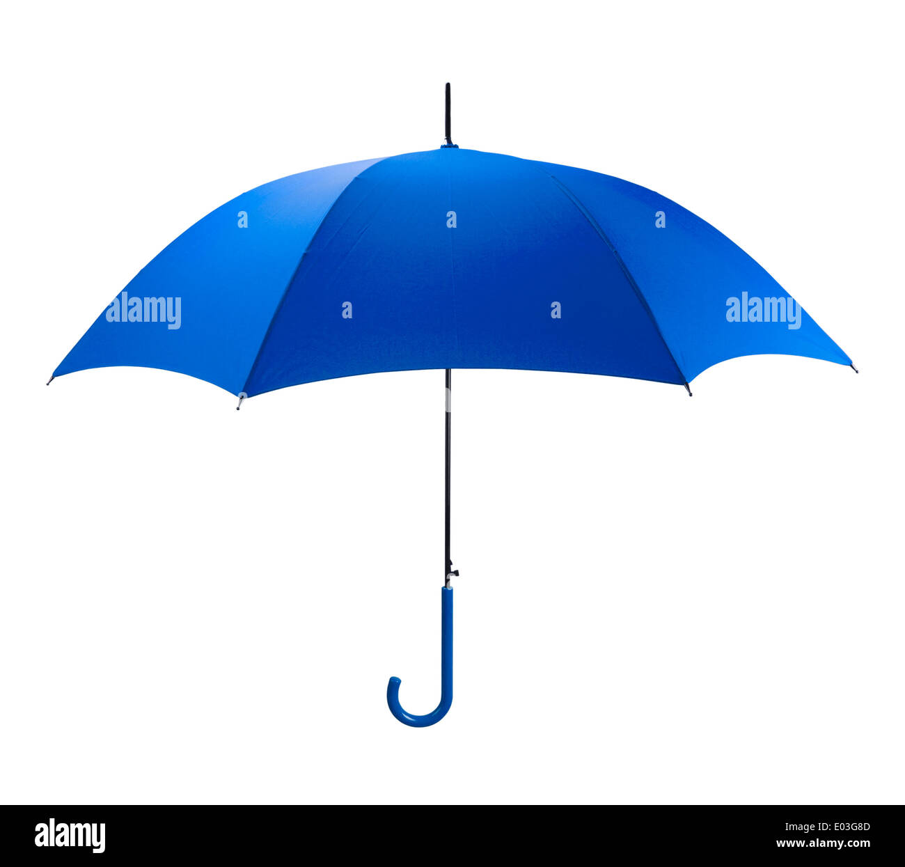 Bright Blue Umbrella Side View Isolated on White Background. - Stock Image