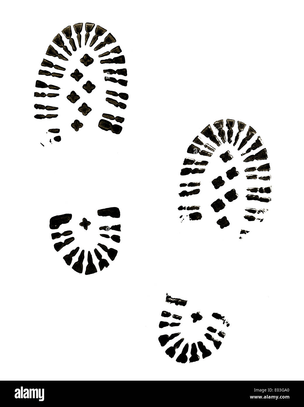 Black Boot Prints Isolated on White Background. - Stock Image